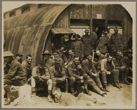View of the N.Z. Field Ambulance waiting for dinner.