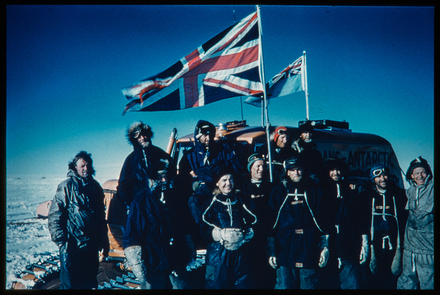 [At the South Pole? - UN and US flags]