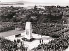 First Anzac ceremony at the new Cenotaph..