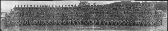 [6th Hauraki Company, 3rd Auckland Battalion NZEF, Codford, May 1917. Panoramic group portrait (rolled).].