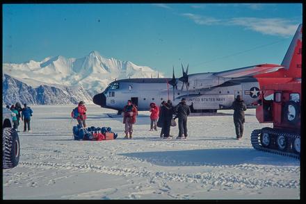 [United States Navy plane on the ice]