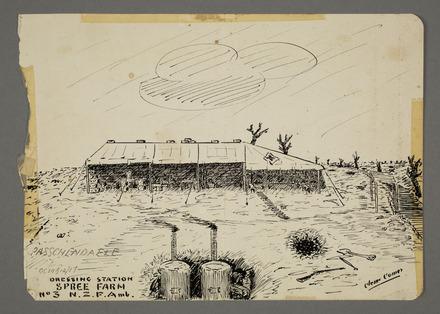 Dressing Station, Spree Farm, No. 3 N.Z.F. Amb. - Auckland War Memorial Museum Tāmaki Paenga Hira