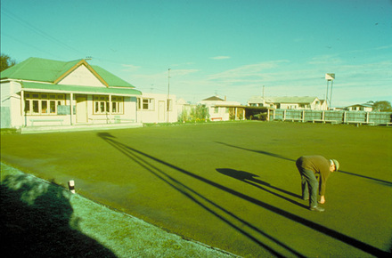 Kaitangata Bowling Club on a frosty morning.  The greenkeeper is picking up slugs so…