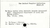 Te Ranga battle site; historic reserve management plan.