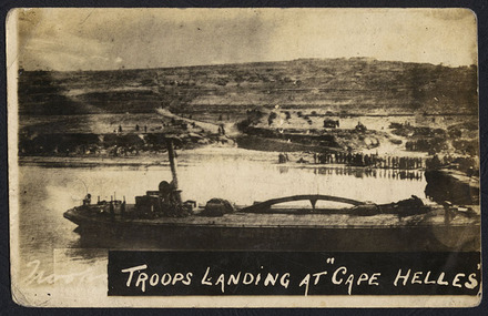 "Troops landing at ""Cape Helles"" - Auckland War Memorial Museum Tamaki Paenga Hira"