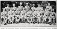 Sept 1915 - Officers of the Maori contingent. Back row left to right: Lieutenants Stainton, Hetet, Tikao, Walker, Neroti, Kaipara and Coupar. Front row left to right: Lieutenant Ferris, Chaplain Wainohu, Dr Buck, Captain Eunes, Major A H Herbert, Captains Pitt, Dansey, Jones and Tohiwi.  - No known copyright restrictions.