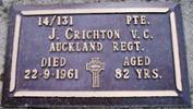 plaque: of Pte J. Crichton V.C., Auckland Regt died 22-9-1961 aged 82 years - This image may be subject to copyright restrictions.