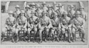 Officers of the Maori contingent.  Back row left to right: Chaplain H W Wainohu, Lieutenant Couper, Chaplain H A Hawkins.  Centre row left to right: Lieutenants Tahiwi, Hiroti, Hetet, Kaipara, Ferris, Stainton, Jones.  Front row: Captains Dansey, Mabin (Paymaster & Quartermaster), W O Ennis (Adjutant), Major Peacock (officer commanding), Lieutenant Ashton (staff officer), Captains Buck (Medical officer) and Pitt. - No known copyright restrictions.