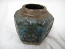 jar, storage (for ginger), six sided, press moulde...