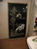 framed embroidery of storks, large