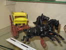 toy, horse and cart, metal; yellow cart with red w...