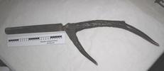 Carving knife and fork; deer antler and steel manu...