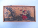 box, rectangular. image of fox up tree with poultr...
