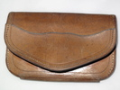 purse; man's; fine brown leather; red lining