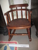 rocking chair for child or doll; wood with rush wo...