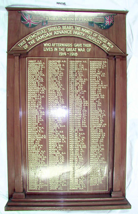Honours Board, Samoa Advance Party, WW1 [NN116]