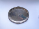 salver. Oval salver with decorated rim and four f...