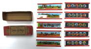 10 toy magic lantern slides in box, hand painted, ...