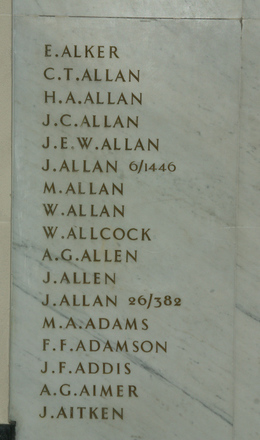Auckland War Memorial Museum, World War 1 Hall of Memories Panel Alker E. - Aitken J. (photo J Halpin 2010) - No known copyright restrictions
