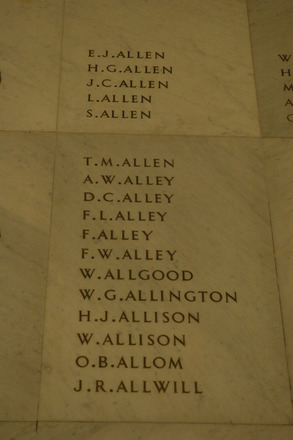 Auckland War Memorial Museum, World War 1 Hall of Memories Panel Allen E.J. - Allwill J.R. (photo J Halpin 2010) - No known copyright restrictions