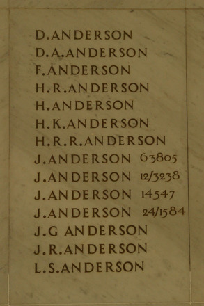Auckland War Memorial Museum, World War 1 Hall of Memories Panel Anderson D. - Anderson L.S. (photo J Halpin 2010) - No known copyright restrictions