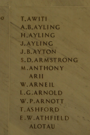 Auckland War Memorial Museum, World War 1 Hall of Memories Panel Awiti T. - Alotau (photo J Halpin 2010) - No known copyright restrictions