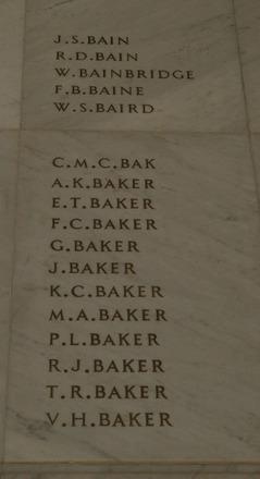 Auckland War Memorial Museum, World War 1 Hall of Memories Panel Bain J.S. - Baker V.H. (photo J Halpin 2010) - No known copyright restrictions