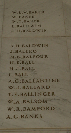 Auckland War Memorial Museum, World War 1 Hall of Memories Panel Baker W.L.V. - Banks A.G. (photo J Halpin 2010) - No known copyright restrictions