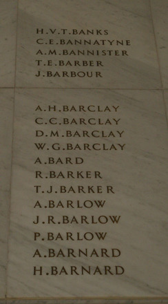 Auckland War Memorial Museum, World War 1 Hall of Memories Panel Banks H.V.T. - Barnard H. (photo J Halpin 2010) - No known copyright restrictions