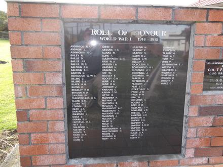 Roll of Honour WW1, Northern Wairoa RSA, Dargaville (photo Ivan Conlon, 2012) - No known copyright restrictions