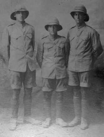 Photograph taken in Palestine 5 July 1916. Claude is on left. - No known copyright restrictions
