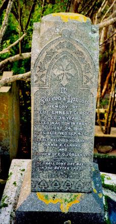 Memorial in the Jorgensen family plot Karori Cemetery, Wellington, New Zealand. Photograph Paul Baker 2007 - No known copyright restrictions