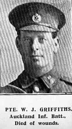 Portrait of Private William John Griffiths, Auckland Weekly News, 26 August 1915, Sir George Grey Special Collections, Auckland Libraries, AWNS-19150826-39-32. Image has no known copyright restrictions.
