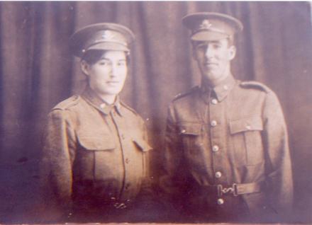 Portrait, Abigail Kate (Lemon, his sister) Rear wearing a uniform and David Lemon. - No known copyright restrictions