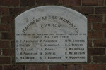 Name plaque, Maungatapere War Memorial church (photo John Halpin 2012) - CC BY John Halpin