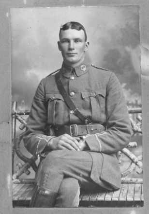 Portrait, The image of William in uniform was given to the Museum at the same time as a similar photograph of Harold McFarlane was supplied. It is not known what the connection between the two men was other than that both of the photographs were in the same Risk family collection. The inscription on the reverse of the photograph reads: 'First cousin of Eleanor Mauanui Nairi (nee Whisker.). The original photograph is in the Museum Library. - No known copyright restrictions