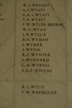 Auckland War Memorial Museum, World War 1 Hall of Memories Panel Wright W.J. to Wrobleske F.W. (photo J Halpin 2010) - No known copyright restrictions