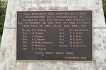 Matakana War Memorial, detail WW1 plaque (photo John Halpin 2011). Note that E.C. Brown is actually E.V. (Everard Onslow) Brown - CC BY John Halpin