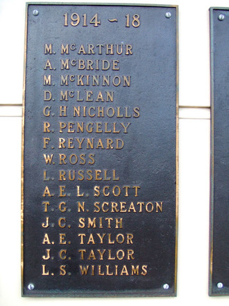 Kaipara Memorial RSA, 1939 - 45 Name panel: M. McArthur - L.S. Williams (photo by G.A. Fortune April 2010) - Image has All Rights Reserved