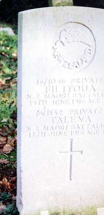 Headstone, Hornchurch (St Andrew) Churchyard shared, of Privates Filitoua and Taleva (Courtesy of Brian Taylor of Brentwood, Essex) - No known copyright restrictions