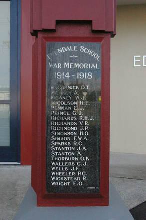 Edendale Primary School War Memorial, WW1 plaque, Sandringham Road, Auckland (photo J. Halpin 2010) - No known copyright restrictions