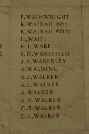 Auckland War Memorial Museum, World War 1 Hall of Memories Panel Wainwright, F. - Walker, C.L. (photo J Halpin 2010) - No known copyright restrictions