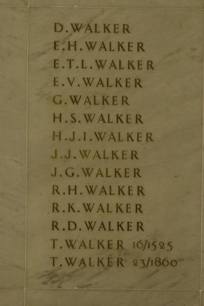 Auckland War Memorial Museum, World War 1 Hall of Memories Panel Walker, D. - Walker, T. (photo J Halpin 2010) - No known copyright restrictions