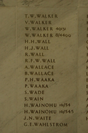 Auckland War Memorial Museum, World War 1 Hall of Memories Panel Walker, T.D. - Wahlstrom, G.E. (photo J Halpin 2010) - No known copyright restrictions