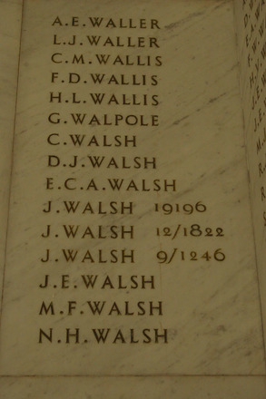 Auckland War Memorial Museum, World War 1 Hall of Memories Panel Waller, A.E. - Walsh, N.H. (photo J Halpin 2010) - No known copyright restrictions