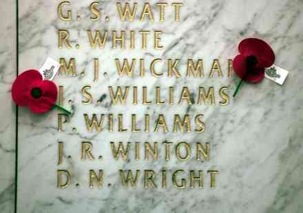 Auckland War Memorial Museum, Hall of Memories. Vietnam Names Watt - Wright - This image may be subject to copyright