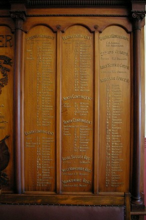 Roll of Honour, Ranfurly Veterans' Home, detail, 7th Contingent - Irregular Forces, (photo J. Halpin September 2011) - No known copyright restrictions