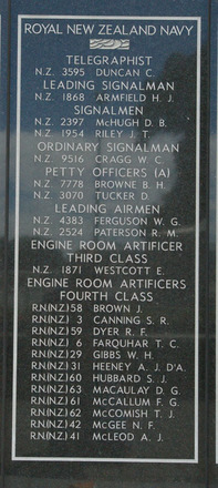 New Zealand Naval Memorial, Devonport, Panel 3: Royal New Zealand Navy - Telegraphist, Leading Signalman, Signalmen, Ordinary Signalman, Petty Officers (A), Leading Airmen, Engine Room Artificer Third Class, Engine Room Artificers Fourth Class Brown - McLeod (digital photo John Halpin 2011) - CC BY John Halpin