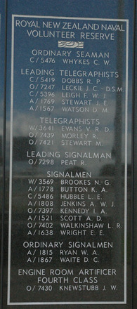 New Zealand Naval Memorial, Devonport, Panel 12: Royal New Zealand Naval Volunteer Reserve - Ordinary Seamen, Leading Telegraphists, Telegraphists, Leading Signalman, Signalmen, Ordinary Signalmen, Engine Room Artificer Fourth Class (digital photo John Halpin 2011) - CC BY John Halpin