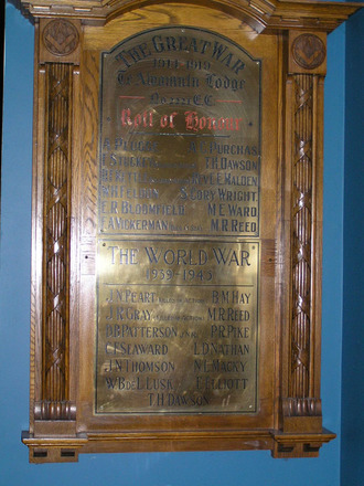Roll of Honour, Freemasons, Te Awamutu Lodge No. 2221 E.C., members who served in the World War 1939 - 1945 (photo Geoff Parry September 2013) - No known copyright restrictions
